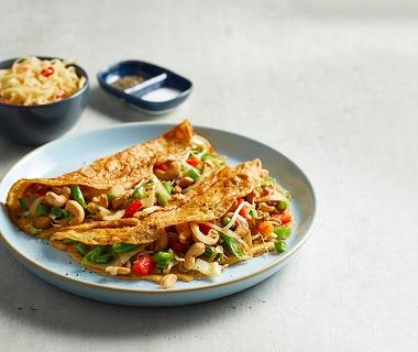 Vietnamese omelet met wokgroenten