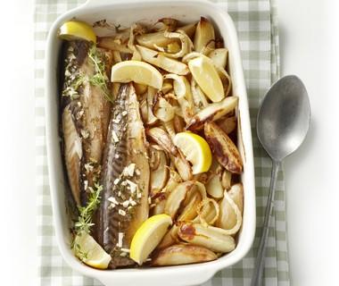 Makreel uit de oven met venkel en aardappel