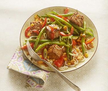 Zoetzure tofu met groenten