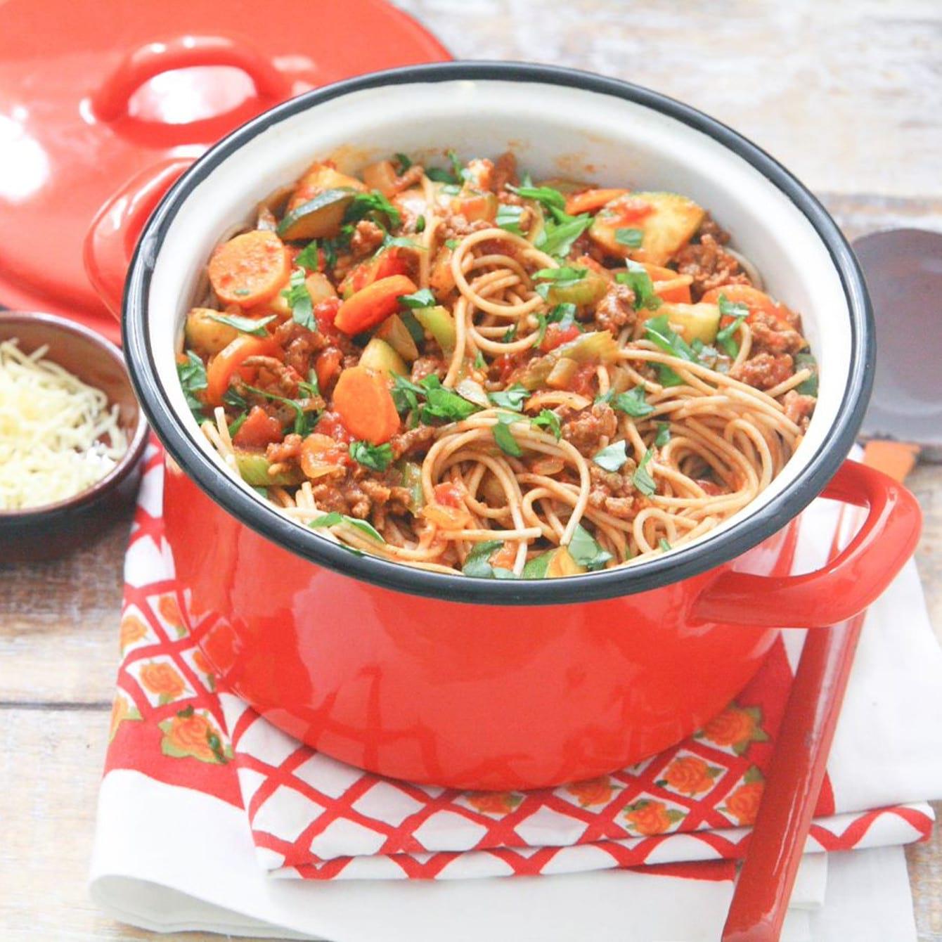 Spaghetti met gehakt-tomatensaus