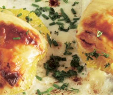 Vis uit de oven met sinaasappel en kaas