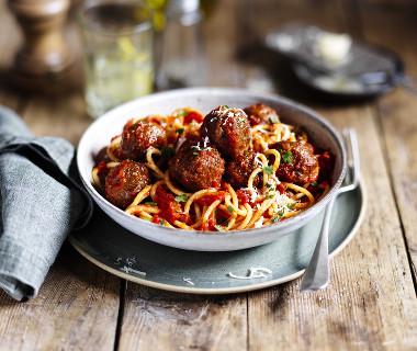 Spaghetti met vegetarische balletjes