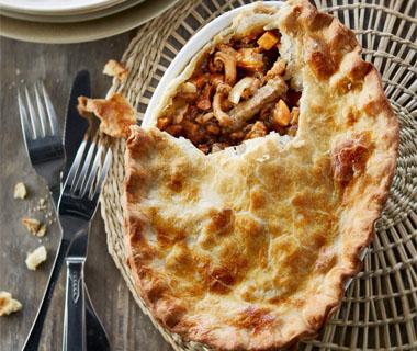 Paddenstoelen-pie met rundvlees en zoete aardappel