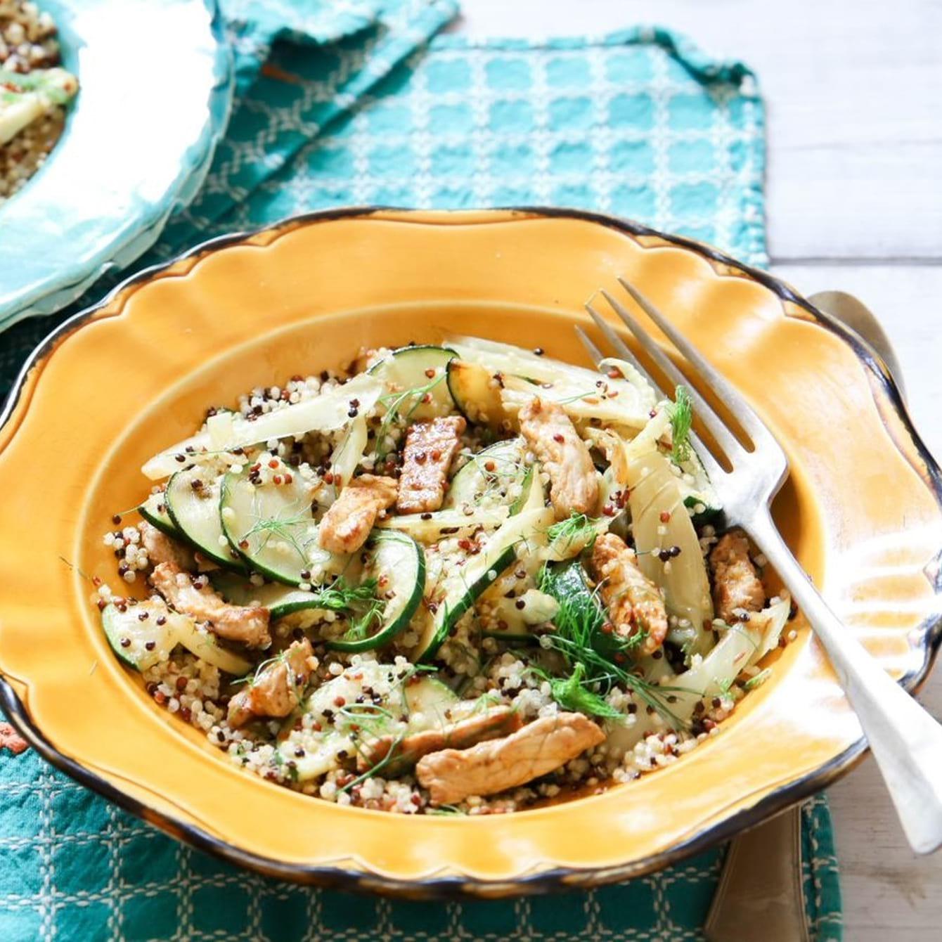 Quinoa met lentegroente en reepjes varkensvlees
