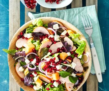 Salade met gerookte kip en meloen