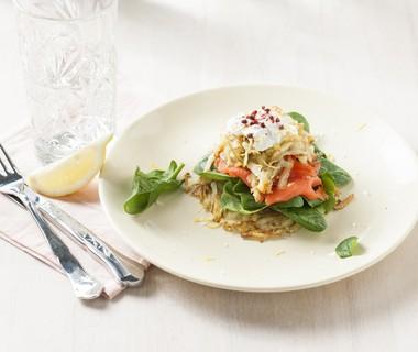 Rösti met spinazie en gerookte zalm