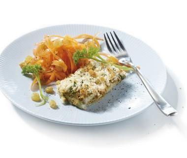 Krokante koolvis met wortelsalade