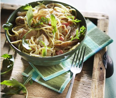 Spaghetti en roomsaus met kip en oesterzwammen