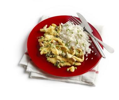 Schnitzels met studentenhaver en rijst