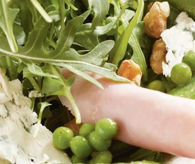 Groene groenten met beenham en Marne Honing MosterdSaus