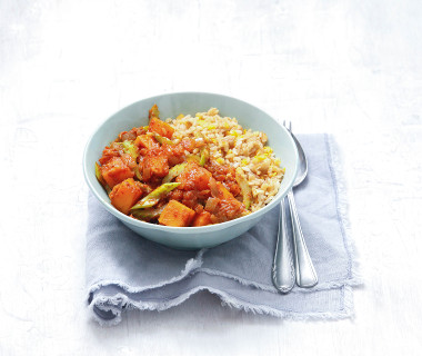 Rijst met linzen en pompoencurry
