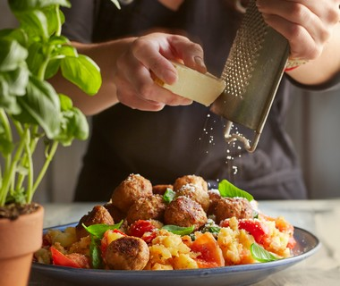 Italiaanse tomatenstamppot met gehaktballetjes