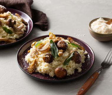 Bloemkool risotto met gegrilde paddestoelen en salie