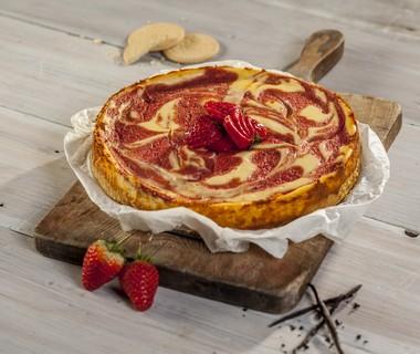 Aardbei-mango swirl cheesecake van Eli