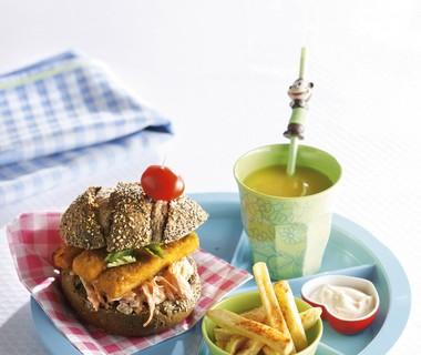 Visburger met wortelvermicelli
