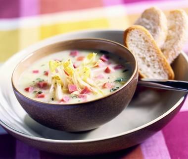 Witlofsoep met ham en kaas