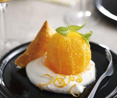 Karamel-sinaasappels met sinaasappelroom