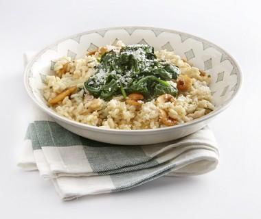 Risotto met champignons en spinazie