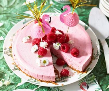 Flamingo-frambozencheesecake