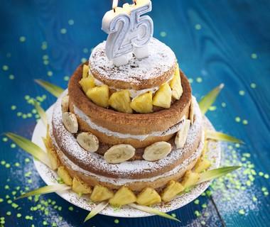 Feesttaart met chocomousse en banaan-ananasroom