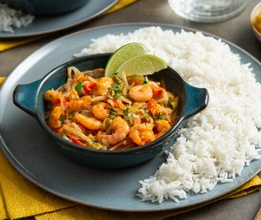Rode curry met garnalen en basmati rijst