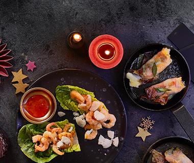 Vispakketjes met rauwe ham en salie