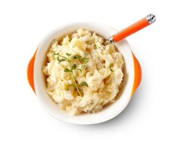 Gepureerde koolraap met aardappel, boter en tijm