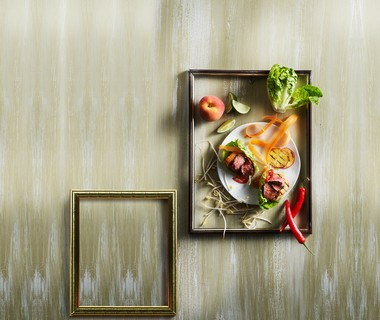 Slabakjes met biefstuk, perzik en sesamdressing