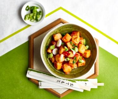 Chinese tofu met zoetzure saus