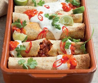 Enchilada's met rundergehakt en kidneybonen