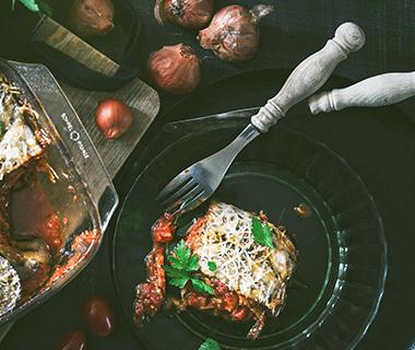 Ovenschotel van Rul Gehackt en aubergine (vegetarisch)