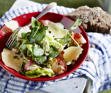 Salade van botersla, waterkers en overjarige boerenkaas