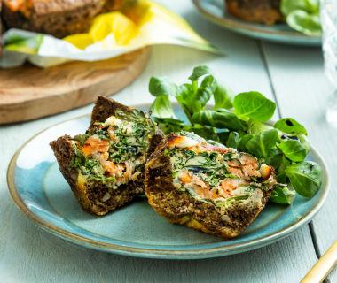 Paas muffins met spinazie en gerookte zalm
