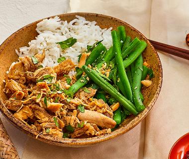 Pulled chicken met rijst en boontjes