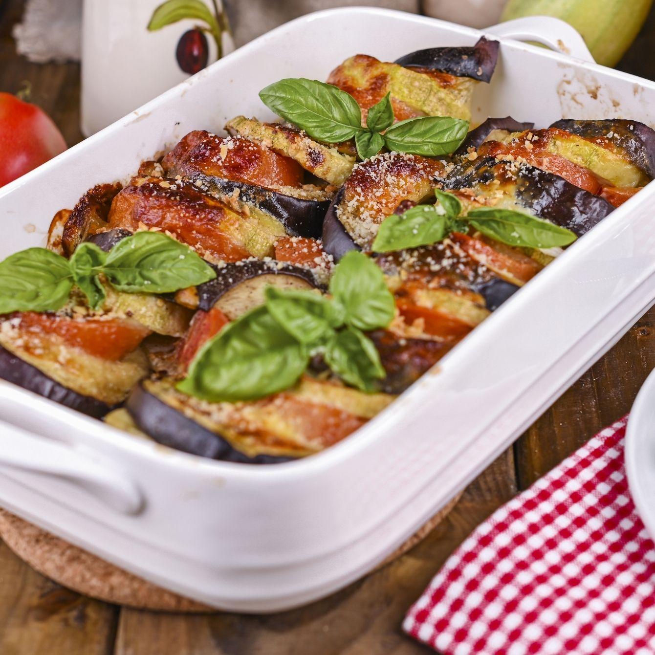 Vegetarische lasagne met geroosterde groenten