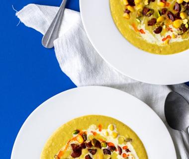 Maissoep met chorizo en pistache van Annie Pannie