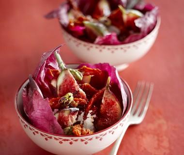 Radicchio met ricotta, vijgen en pistachenoten