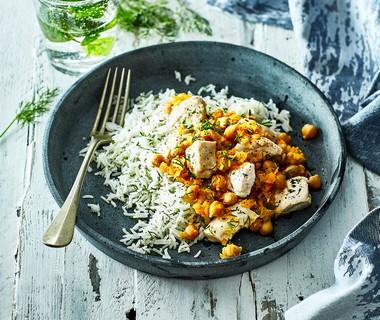 Kip met rijst en kikkererwten