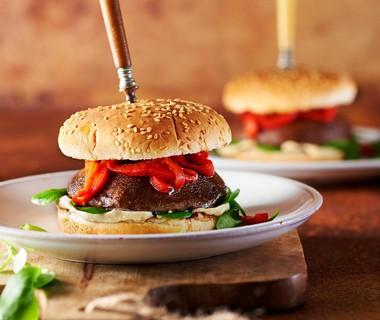 Portobelloburger met gegrilde paprika