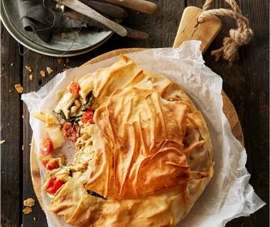 Filotaart met courgette, tomaatjes en camembert