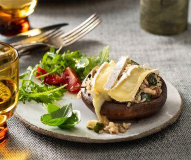 Portobello met risotto en camembert