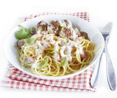 Spaghetti met romige gehaktballetjes