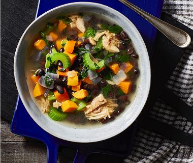 Sweet potato soup met bonen