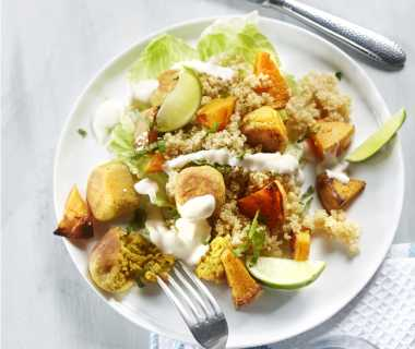 Falafel met quinoa en pompoen