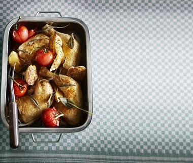 Kip met gepofte knoflook en citroen