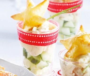 Glaasje hamsalade met brooddekseltje