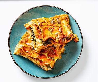 Groentenlasagne met romige 'kaas' saus