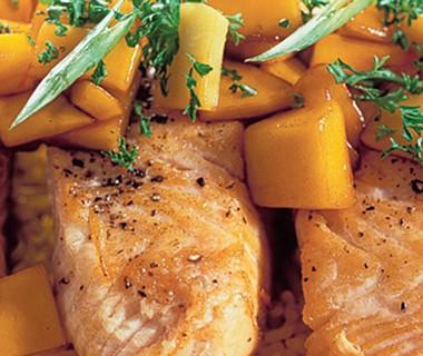 Aziatische zalmfilet met mango