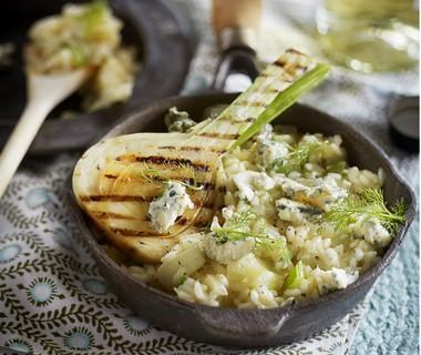 Risotto met venkel en blauwe kaas