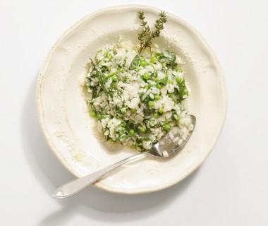 Risotto met spinazie en doperwten